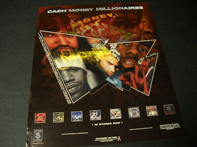 CASH MONEY MILLIONAIRES Super-Rare 2001 PROMO DISPLAY AD in mint condition