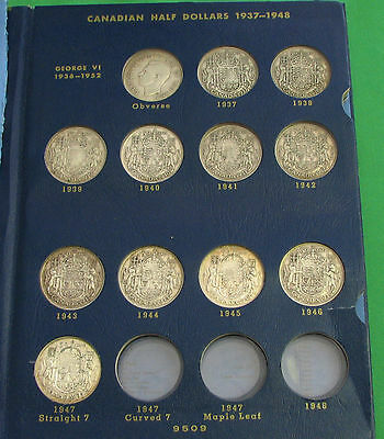 Canada collection 50 cents 1937 to 1958 missing 1948 1947 maple
