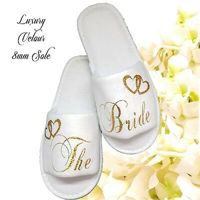 Bride Bridal Bridesmaid Hen Spa Slippers Wedding Guest  Sparkling Gold Letters