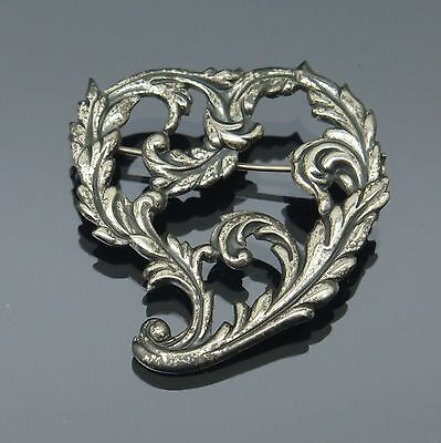 VIntage Victorian Style Acanthus Leaf Heart Wreath Sterling Silver Repousse Pin