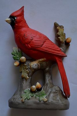 Vintage PORCELAIN CARDINAL Bird Figurine Made in Japan Great Cond (1C,B25)
