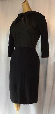 Vintage 1940s 1950s LBD CHIC FITTED BLACK COCKTAIL WIGGLE SHEATH DRESS - SM