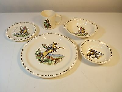 5 Piece Set ROY ROGERS Plate Bowl Large Bowl Saucer Cup RODEO UNIVERSAL Ceramic