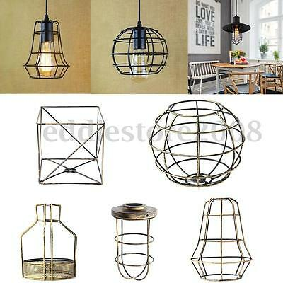 Edison Iron Vintage Hanging Ceiling Light Fitting Lamp Bulb Cage Cafe Lampshade