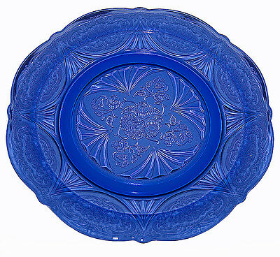 Hazel Atlas Royal Lace Cobalt Blue Dinner Plate
