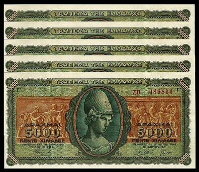 GREECE 5000 5,000 DRACHMAI 1943 AUNC / UNC 5 PCS CONSECUTIVE LOT P 122a