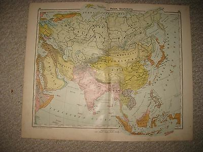 Large 3 Fine Antique 1906 Asia German Map China Malaysia Arabia Japan Korea Nr