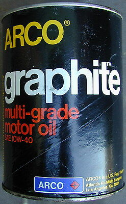 Old Original Arco Oil Company Motor Oil Can 1960's Graphite Very Rare