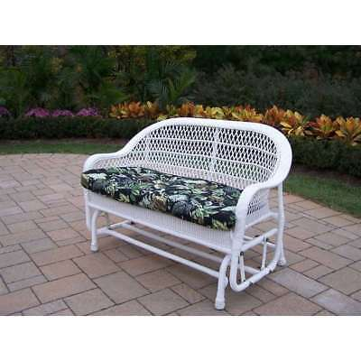 Oakland Living Coventry Wicker Glider, Black Floral Cushion, White - 2009-10-WT