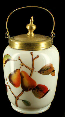 Antique Victorian Custard Glass - Hand Painted Pickle  Fruit Jam Pears GF Lid