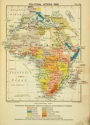 Map of Africa 'Political Africa' 1898 Cololnialism 6x4 Inch Reprint