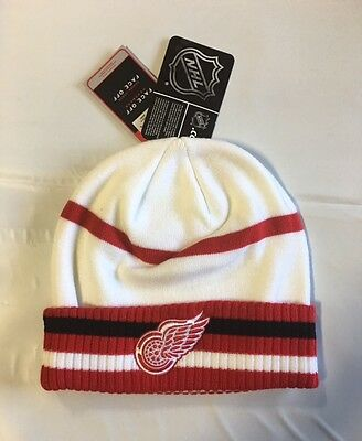 Detroit Red Wings Knit Beanie Toque Winter Hat Skull Cap NHL New - White Cuffed