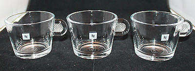 Nespresso Glass Collection Logo Cappuccino Clear Coffee Mug Cups Set of 3