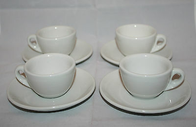 Vintage Richard Ginori Set of 4 Espresso Demitasse Cups and Saucers White AS-IS
