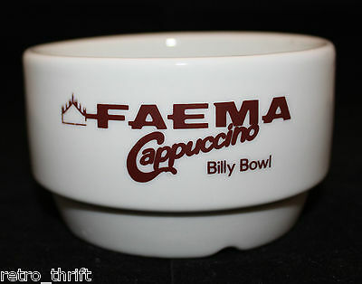 Vintage Faema Italy Cappuccino White Brown Ceramic Advertising Billy Bowl M.D.D