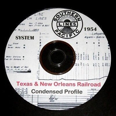 Texas & New Orleans T&NO 1954 System Condensed Track Profile Pages on DVD