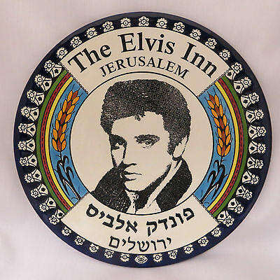 """The Elvis Inn Jerusalem Collector Plate 10"""" Pottery Presley Collectible Rare"""