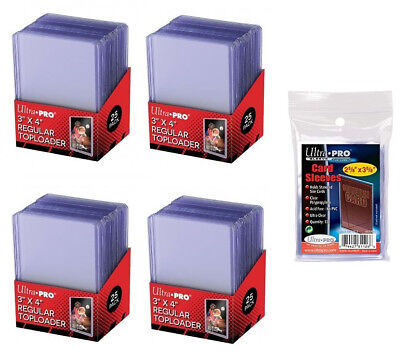 100 ULTRA PRO 3x4 Sports Card Toploaders + FREE SLEEVES FREE SHIPPING
