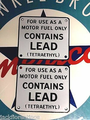 """classic """"CONTAINS LEAD"""" set of 2 - gas pump PORCELAIN COATED metal signs"""