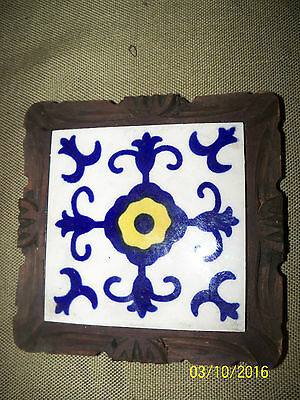 vintage mexican made dal tile trivet blue white yellow wood framed