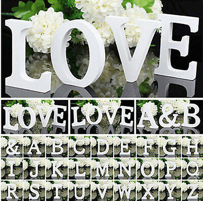 White Wooden Large 26 Wood Alphabet Letters/Wall Hanging Nursery Wedding Decor
