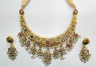 Vintage antique solid 20K Gold jewelry precious gemstones Necklace & earring