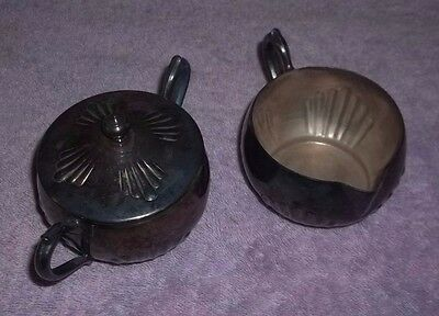 Silver Plate Sugar Bowl & Creamer - Silver on Copper by National - Number 1084