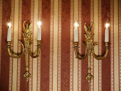 swan figure gold bronze french 2 light pair wall lamps sconces brass vintage