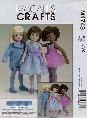 """McCalls 4743 8"""" and 14"""" Doll Clothes Pattern Betsy McCall -  Uncut"""