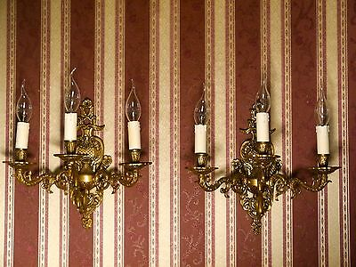 3 lights pair french fine classic wall lamps sconces brass old fixtures 2x