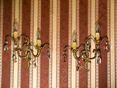 pair french fine baroque lead crystal wall lamps sconces vintage brass fixtures
