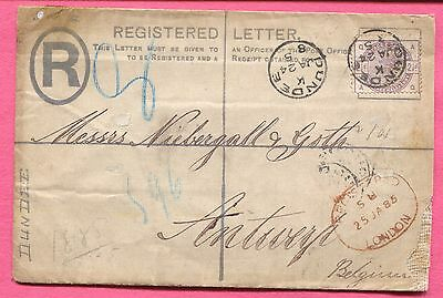 1885 Gb Registered Letter Stationery Dundee To Belgium