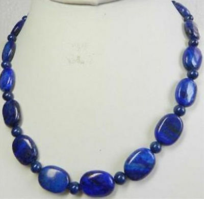 """13X18mm Natural Egyptian Oval Lapis Lazuli & 6mm Round Beads Necklace 18"""" AAA"""