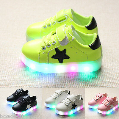 BD Boys Girls LED Light Lace Up Luminous Sneakers Kids Colorful Casual Shoes