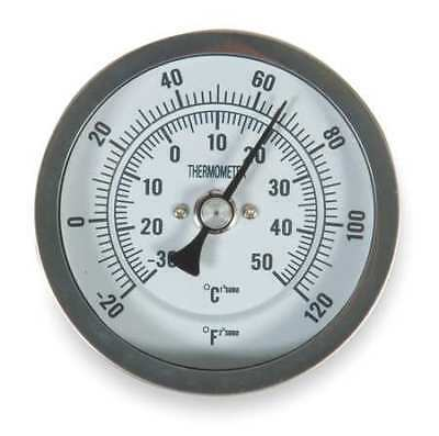 1NFY2 Bimetal Thermom, 3 In Dial, -20 to 120F