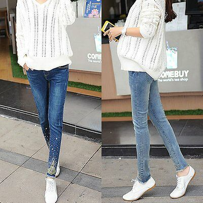 New Long Pregnancy Maternity Pants High Waisted Pregnancy Trousers Women Jeans