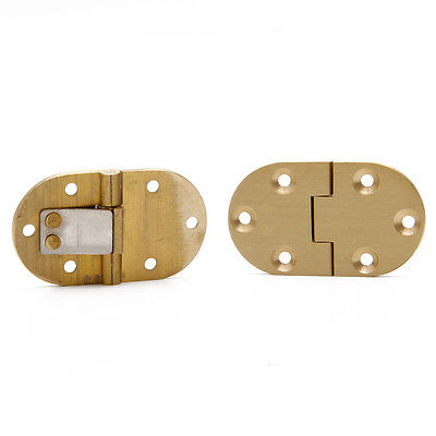 2Pcs Solid Brass Butler Tray Hinge Round Edge Folding Flaps With 12 Screws