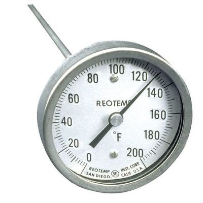 Bimetal Thermom,3 In Dial,0 to 200F REOTEMP A48PF 0-200 F
