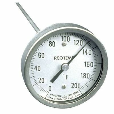 REOTEMP A48PF 0-200 F Bimetal Thermom, 3 In Dial, 0 to 200F