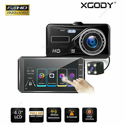 4'' HD 1080P Dual Lens Car DVR Reversing Camera Video Dash Cam Recorder G-sensor
