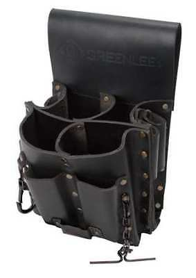 Tool Pouch, Heavy Duty, Top-Grain Leather, Black, Greenlee, 0258-11