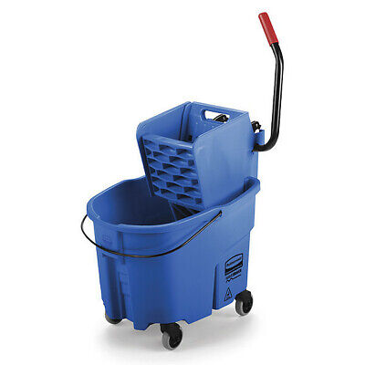 WaveBrake Mop Bucket and Wringer,8.75 gal.,Blue RUBBERMAID FG758888BLUE