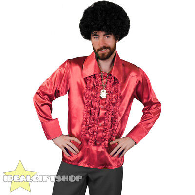 Mens Red 1970's Disco Ruffle Shirts Adults Fancy Dress Costume 70's Frilly Top