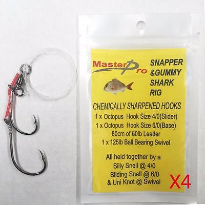 4 X Adjustable Snapper & Gummy Shark Sliding Fishing Rigs With 4/0 & 6/0 Hook!!!