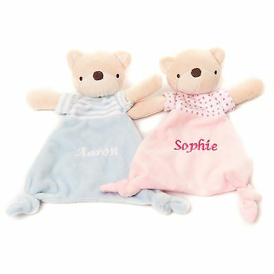 Personalised Embroidered Baby Soft Blue Pink Teddy Comforter Gift Blankie