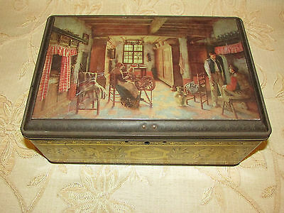 Very Large Vintage Collectable 'H. De Brackeleer La Fileuse ' Tin Box With Lock