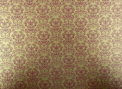 Dolls House Renaissance Red on Gold Miniature Print 1:12 Scale Wallpaper