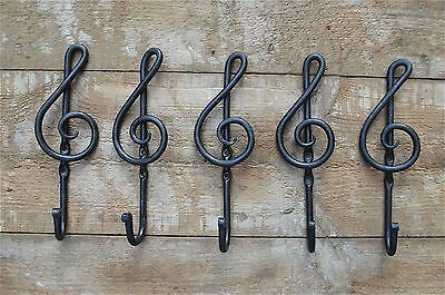 5 handmade wrought iron music note hook treble clef coathook coat hook hanger