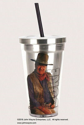 John Wayne 18 oz. Insulated Stainless Travel Cup with Straw, NEW UNUSED