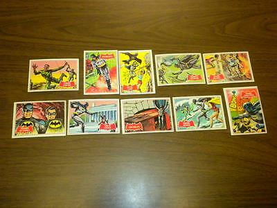 10 BATMAN cards (11A-21A) Topps 1966 red bat/puzzle back LOT